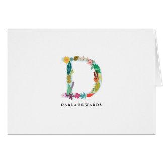 Floral Letter Monogram Initial - D - Folded Card