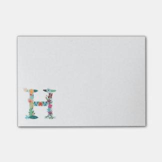 Floral Letter Monogram Initial - H - Post-it® Notes