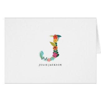 Floral Letter Monogram Initial - J - Folded Card
