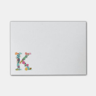 Floral Letter Monogram Initial - K - Post-it® Notes
