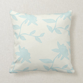 Floral | Light Blue Stamped Flowers Cushion