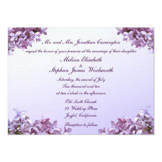 Floral Lilac Flowers Wedding 14 Cm X 19 Cm Invitation Card