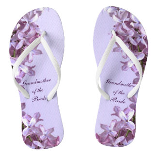 Floral Lilac Flowers Wedding Grandmother of Bride Thongs