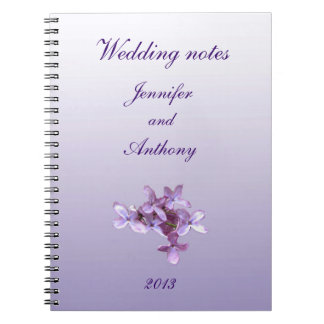 Floral Lilac Flowers Wedding Notes Note Book