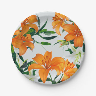 """Floral Lilies Paper Plate 7"""" 7 Inch Paper Plate"""