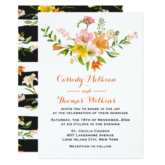 Floral Lily Flowers Orange Black & White Stripes Card