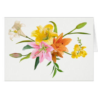 Floral Lily Flowers - Pink, Orange, Yellow  Hello Card