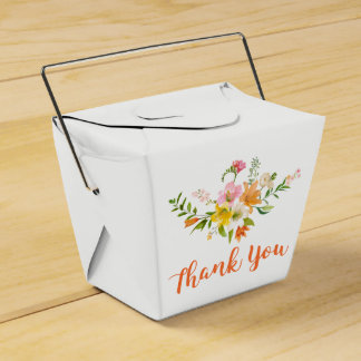 Floral Lily Flowers - Pink, Orange Yellow  Wedding Favour Box