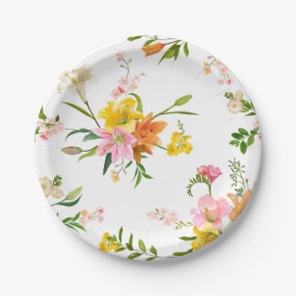 Floral Lily Flowers - Pink, Orange Yellow  Wedding Paper Plate