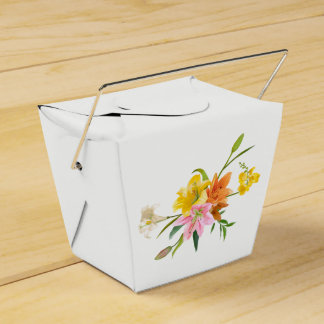 Floral Lily Flowers - Pink, Orange Yellow  Wedding Wedding Favour Box