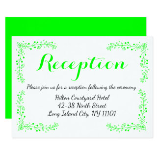 Floral Lime Green Wedding Reception Flowers Card