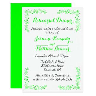 Floral Lime Green Wedding Rehearsal Dinner Flower Card
