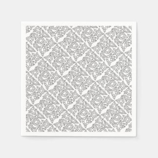 Floral Line Art Design Disposable Serviette