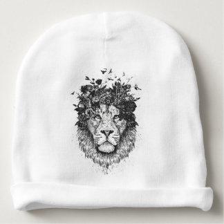 Floral lion (blackandwhite) baby beanie