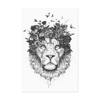 Floral lion (blackandwhite) canvas print