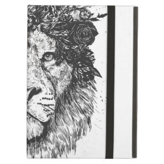Floral lion (blackandwhite) cover for iPad air