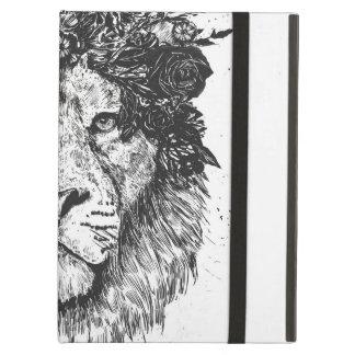 Floral lion (blackandwhite) cover for iPad air