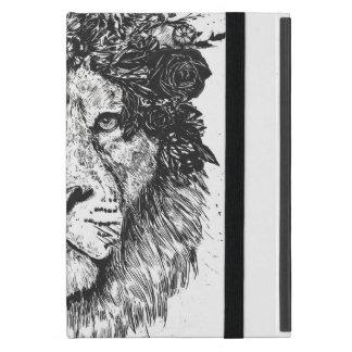 Floral lion (blackandwhite) cover for iPad mini
