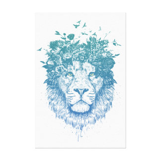 Floral lion canvas print