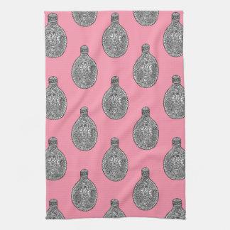 Floral Liquor Flask Pattern Rose Pink Towel