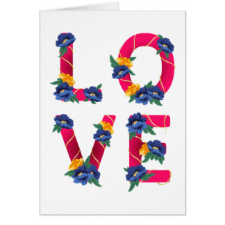 Floral Love Hot Pink Magenta Blue & Yellow Flowers Card