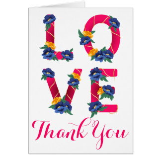 Floral Love Hot Pink Thank You Blue Yellow Flower Card