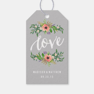 Floral Love in Gray   Wedding Gift Tags