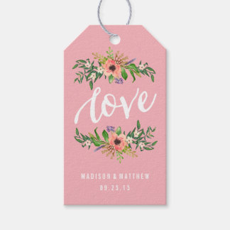 Floral Love in Pink   Wedding Gift Tags