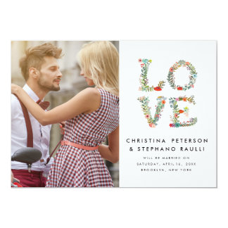Floral LOVE Modern Photo Save the Date Card