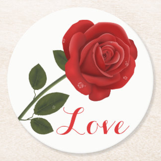 Floral  Love Red Rose Flower - Wedding Party Round Paper Coaster