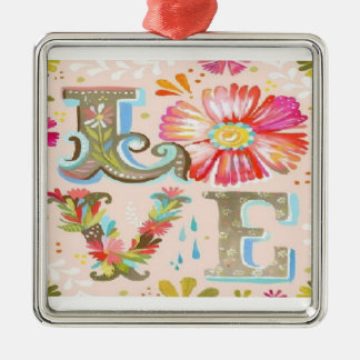 Floral Love Silver-Colored Square Decoration