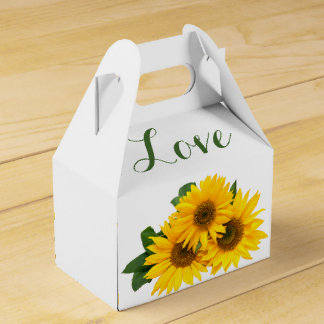 Floral Love Sunflowers Yellow & Green Wedding Favour Box