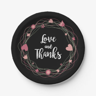 Floral Love & Thanks Black & Pink Hearts, Flowers 7 Inch Paper Plate