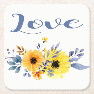 Floral Love Yellow & Blue Watercolor Flowers Square Paper Coaster