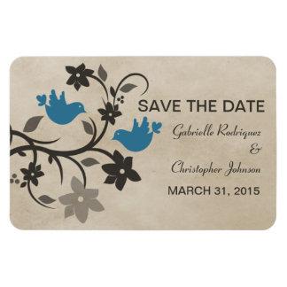 Floral Lovebirds Save the Date Magnet, Blue Rectangular Photo Magnet