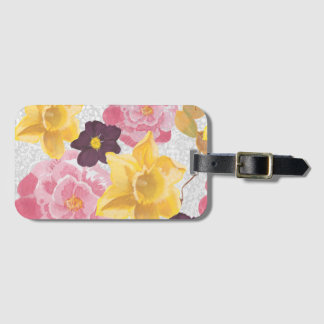floral luggage tag