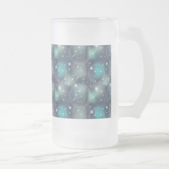 Floral luxury mandala pattern frosted glass beer mug
