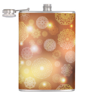 Floral luxury mandala pattern hip flask