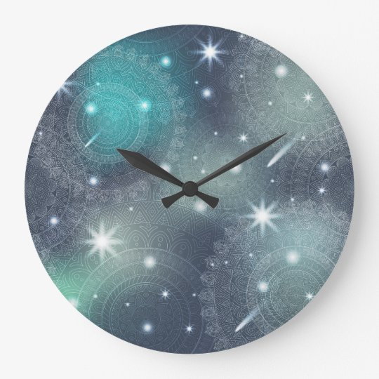 Floral luxury mandala pattern large clock
