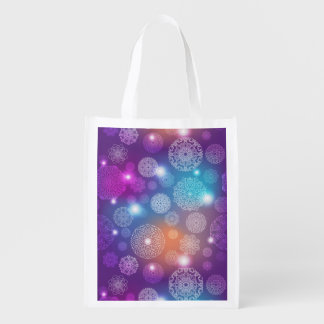 Floral luxury mandala pattern reusable grocery bag