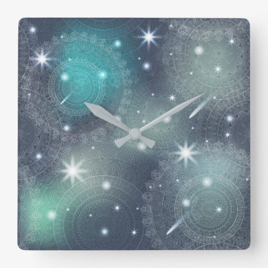 Floral luxury mandala pattern square wall clock
