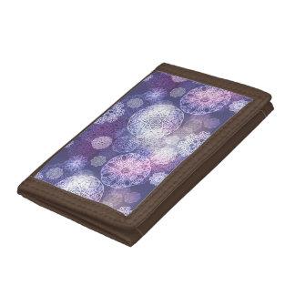 Floral luxury mandala pattern tri-fold wallet