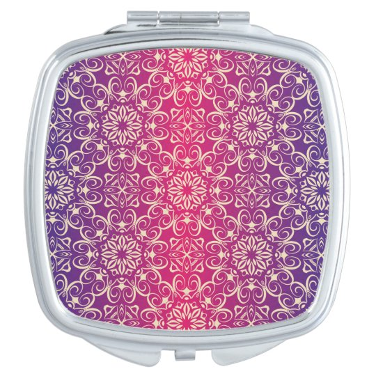 Floral luxury royal antique pattern compact mirror