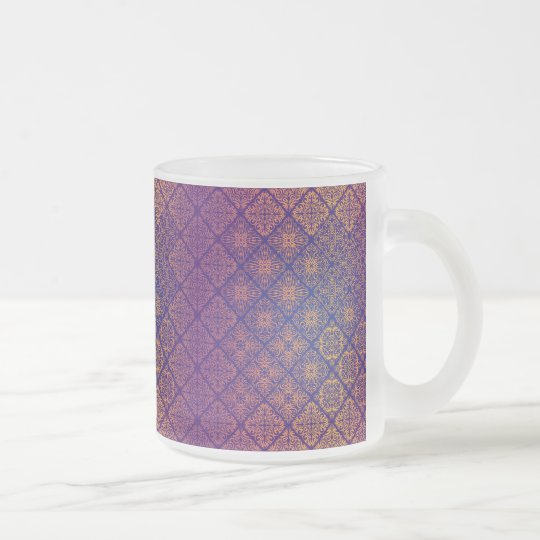 Floral luxury royal antique pattern frosted glass coffee mug
