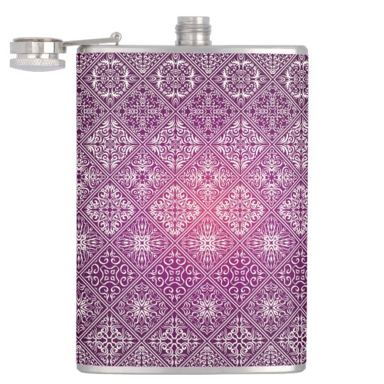 Floral luxury royal antique pattern hip flask