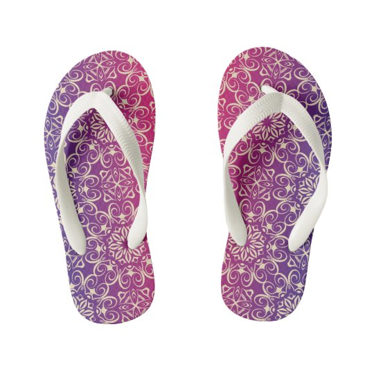 Floral luxury royal antique pattern kid's thongs
