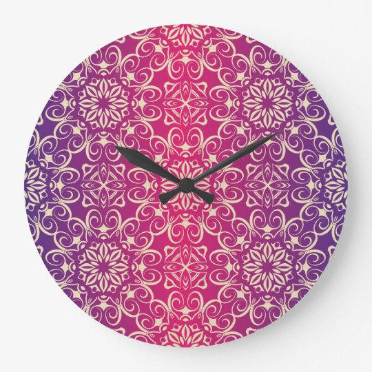 Floral luxury royal antique pattern large clock