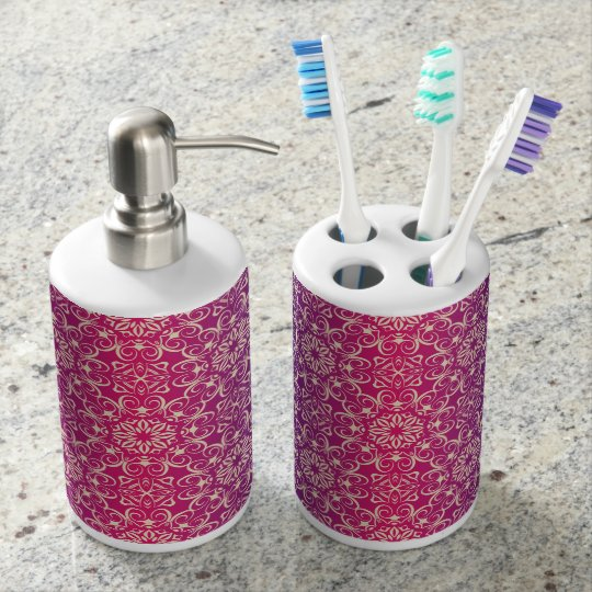 Floral luxury royal antique pattern soap dispenser and toothbrush holder