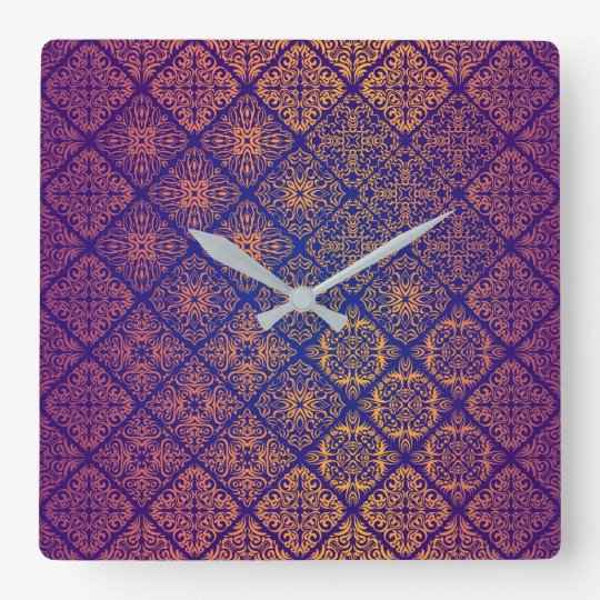 Floral luxury royal antique pattern square wall clock