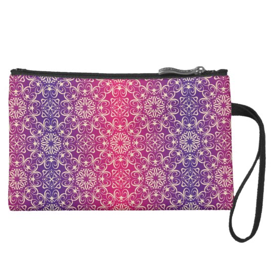 Floral luxury royal antique pattern suede wristlet